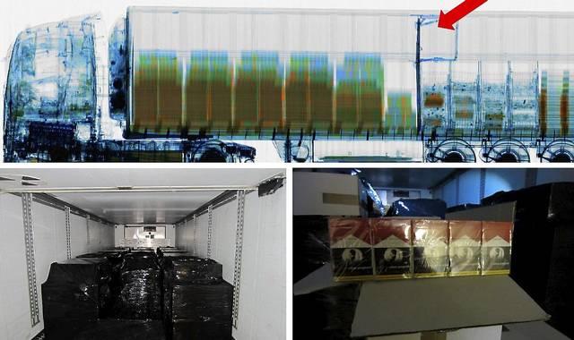 Röntgenbild av lastbil med cigaretter
